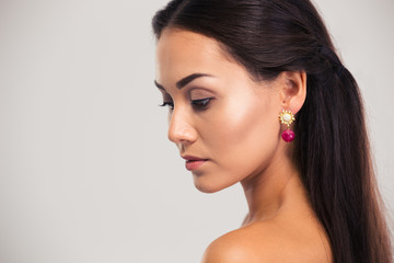 Beauty portrait of a charming woman looking away