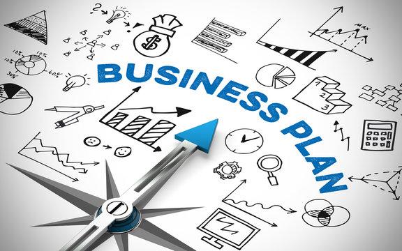 Business Plan mit Kompass und Symbolen