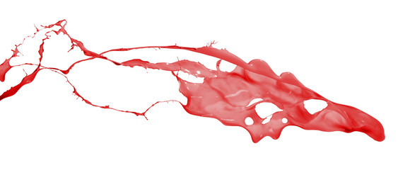 red splash over white background
