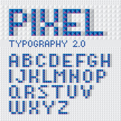 Modern digital font made of pyramid pixels. Blue on grey.