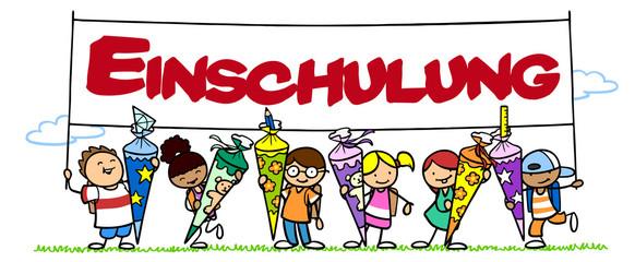 Kinder feiern Einschulung mit Schultüte