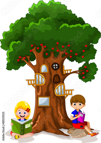 Quot Child Reading The Book Under The Tree Quot Stock Image And