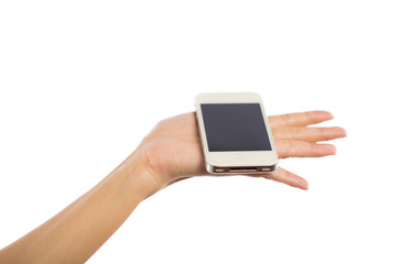 Human hand holding blank mobile smart phone isolated on white ba