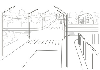 Linear architectural sketch residential streets crossroad