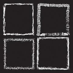Set of Grunge Black and White Frames . Distress Border Frame