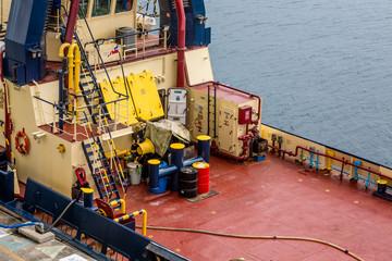 Barrels on Deck of Tugboat