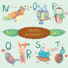 Obraz Very cute alphabet. N, o, p, q, r, s, t letters. Nightingale, ow - fototapety do salonu