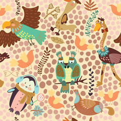 Cute seamless pattern with cute various birds.Penguin, ostrich,