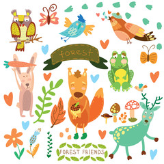 Vector Set of Cute Woodland and Forest Animals.Squirrel,rabbit,