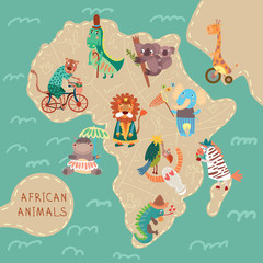 Map of Africa with cute animals in vector. African animals set: