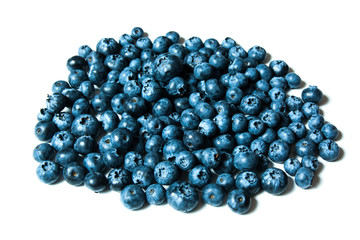 Fresh great bilberries or blueberries isolated on white background