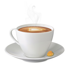 Cup of hot cappuccino with steam, sweety and saucer