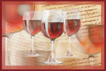 Holiday background with the handwritten text and set of wineglasses with red wine.  Greeting card or poster. Good for restaurant or bar menu design.Celebration illustration.