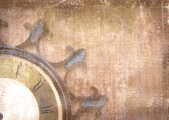 Fragment of the old vintage wall clock with roman numbers on a grunge background. Abstract composition for your design. Brown illustration of part clockface without arrows in the shape of ship wheel.