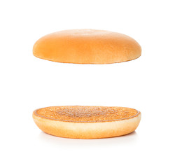 Hamburger, cheeseburger bun on a white background