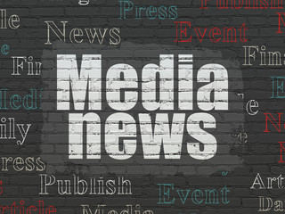 News concept: Media News on wall background