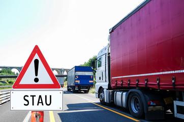 Achtung Stau Autobahn