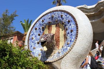 Detail im Park Güell in Barcelona (Antoni Gaudi)