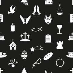 christianity religion symbols black and white seamless pattern eps10