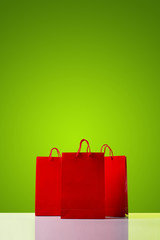 Red shopping bags.