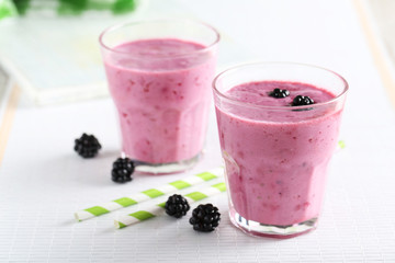 Blackberry smoothie in the glasses