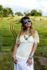 Beautiful hippie girl outdoors