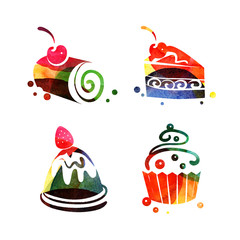 Set of watercolor sweet cake silhouettes