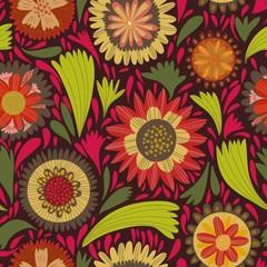 Retro Christmas flower seamless background. Bright illustration,