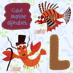 Sea very cute  Alphabet.marine set in vector.L letter.Lionfish,L