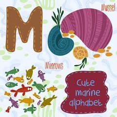 Sea very cute  Alphabet.marine set in vector.M letter.Mussel,Min