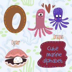 Sea very cute  Alphabet.marine set in vector.O letter.Octopus,oy