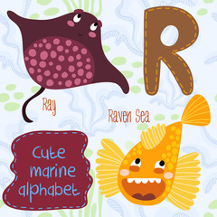 Sea very cute  Alphabet.marine set in vector.R letter.Ray,raven