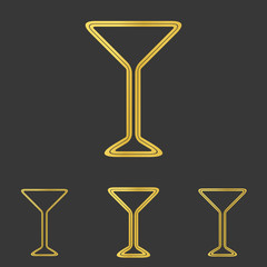 Golden line drink logo design set