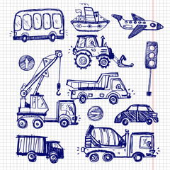 baby cars set. funny baby toys. vector doodle collection