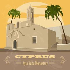 Cyprus landmarks. Retro styled image