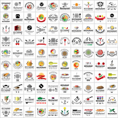 Restaurant Flat Icons Set - Vector Illustration