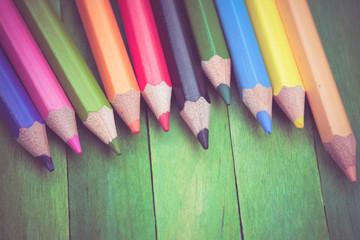 Color pencils old retro vintage style