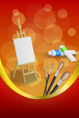 Background abstract easel picture paint brush red yellow frame vertical gold ribbon illustration vector