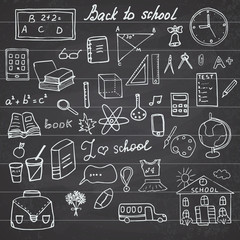 Back to School Supplies Sketchy Notebook Doodles set with Lettering, Hand-Drawn Vector Illustration Design Elements on Lined Sketchbook on chalkboard background