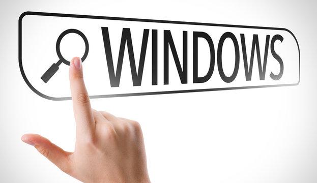 Windows written in search bar on virtual screen