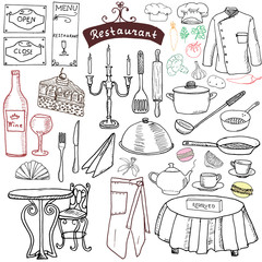Restaurant sketch doodles set. Hand drawn elements food and drink, knife, fork, menu, chef uniform, wine bottle, waiter apron Drawing doodle collection, isolated on white