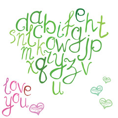 Hand drawn font, vector illustration of hand brushed calligraphic letters in shape of heart