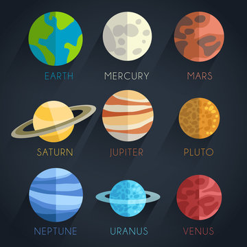 Astronomical Flat Icon Set : Vector Illustration