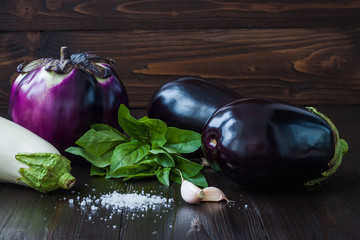 Purple and white eggplant (aubergine) with basil and garlic on dark wooden table. Fresh raw farm vegetables - harvest from the garden in rustic kitchen. Rural still life