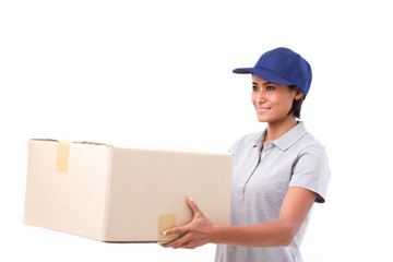 fast, happy, female delivery service staff with parcel or carton