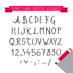 ABC - Hand Written Sketched Funky Retro Vector Font - Alphabet