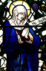 Fototapete - Mary (mother of Jesus) in stained glass