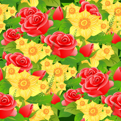 Seamless floral background of roses, daffodils and leaves.
