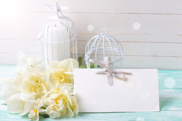 Background with  white flowers, tag  and candles.