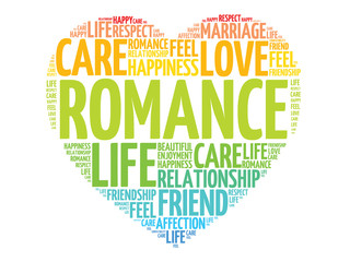 Romance concept heart word cloud